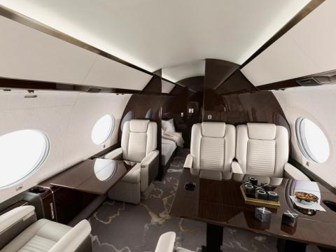 The interior of a Gulfstream G650ER, the same plane model owned by Musk.