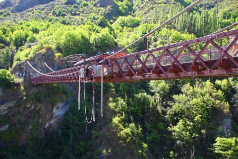 New Zealand's Kawarau Bridge is the world's first commercial bungee jumping site.