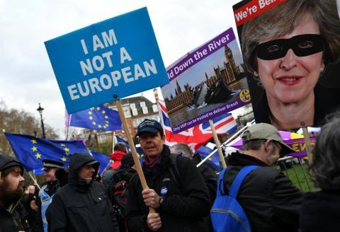 Un manifestante en una protesta pro Brexit en Londres.