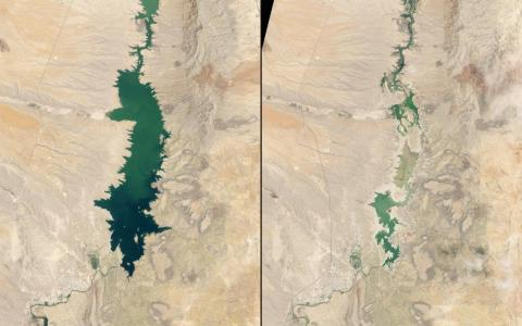The same goes for the Elephant Butte Reservoir in New Mexico. Here it is in 1994 (left) and again in 2013 (right).