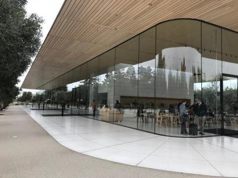 Similar to the spaceship building and many of Apple's stores, the center is encased in glass.