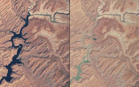 Some rivers have been shrinking as well — these images compare waterways in Arizona and Utah in March 1999 (left) and May 2014 (right).