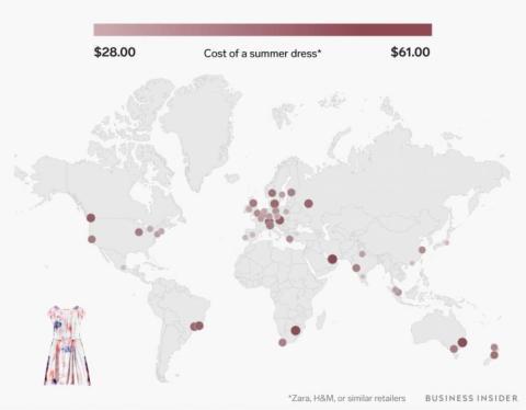 Un vestido de verano de Zara, H&M o una tienda similar va de 28 a 61 dólares (entre 24 y 52 euros)