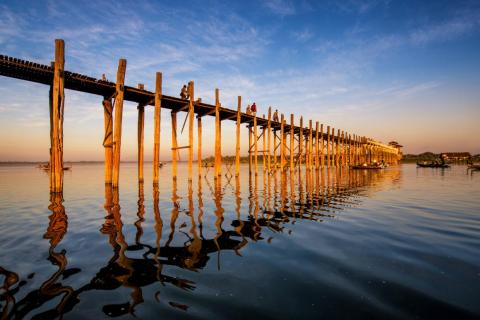 The teakwood pillars on Myanmar's U Bein Bridge are decaying, leading to concerns that it may one day collapse.