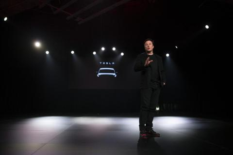 Tesla CEO Elon Musk speaks before unveiling the Model Y at Tesla's design studio Thursday, March 14, 2019, in Hawthorne, Calif. The Model Y may be Tesla's most important product yet as it attempts to expand into the mainstream and