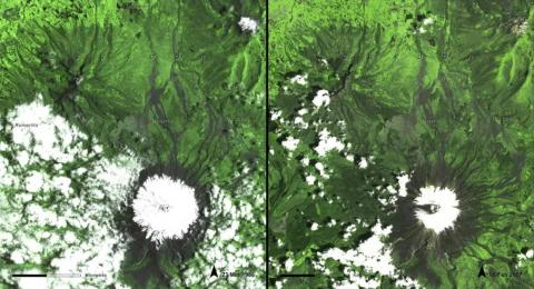 These aerial images document melting ice in Ecuador, from March 1986 (left) to February 2007 (right).