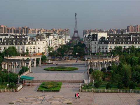 Tianducheng, China, is a replica of Paris.