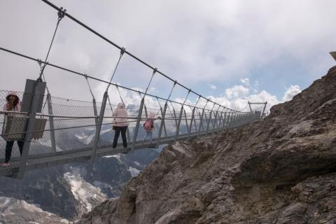 The Titlis Cliff Walk in the Swiss Alps is Europe's highest suspension bridge.