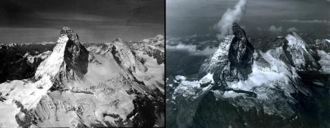 Warming temperatures have decreased snow and ice cover in other places, too. Matterhorn Mountain in Switzerland saw a marked drop in snowpack between August 1960 (left) and August 2005 (right).