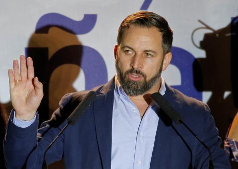 Santiago Abascal, líder de Vox, en un discurso