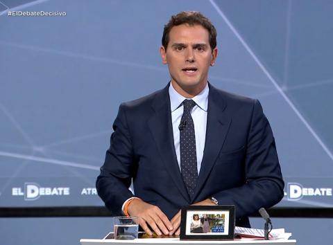 Albert Rivera durante el debate electoral del 28A.