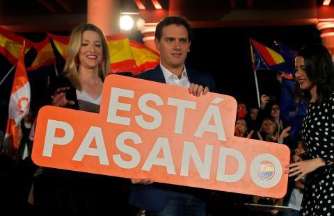 Albert Rivera, líder de Ciudadanos, en un acto de campaña electoral.