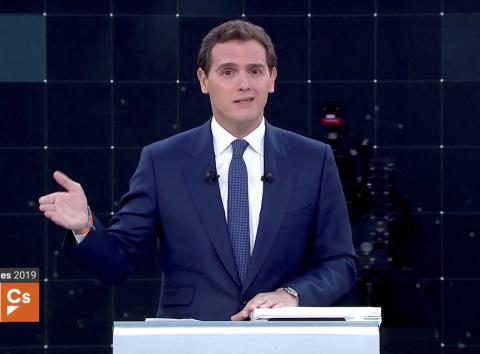 Albert Rivera en el minuto inicial del debate de las Elecciones Generales 2019 de RTVE.