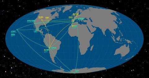 Todos los observatorios que han participado en el proyecto del EHT.