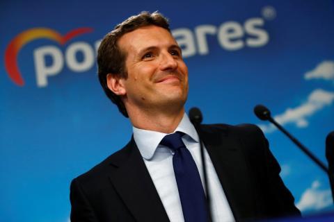 Pablo Casado en su discurso tras conocer los resultados de las elecciones generales del 28 de Abril