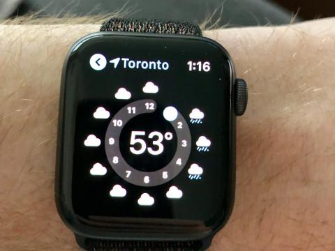 7. Checking the weather is fast and easy with an Apple Watch.