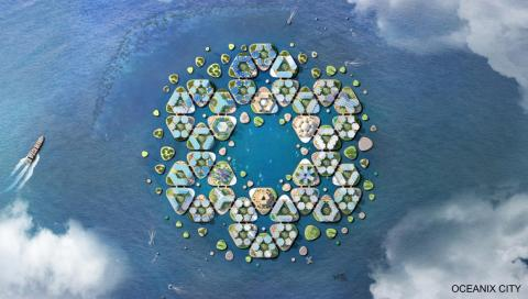 The city would essentially be a collection of hexagonal platforms that can each hold around 300 residents.