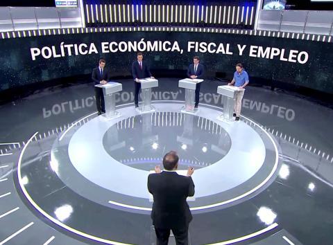 Los candidatos de los cuatro principales partidos en el debate a las Elecciones Generales de 2019.