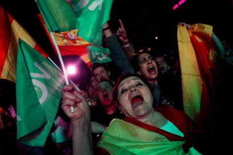 EG2019: Votantes de Vox celebran discurso de Ortega Smith