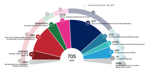 Estado actual del Parlamento Europeo (Marzo de 2019) /