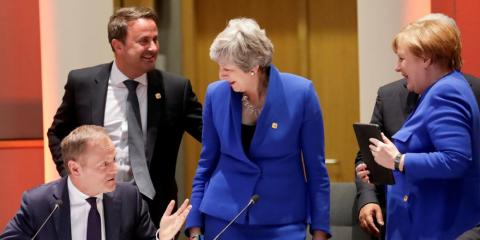 German Chancellor Angela Merkel, Britain's Prime Minister Theresa May, European Council President Donald Tusk and Luxembourg's Prime Minister Xavier Bettel attend an extraordinary European Union leaders summit to discuss Brexit,