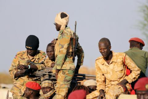 Grupo de soldados en Sudán del Sur