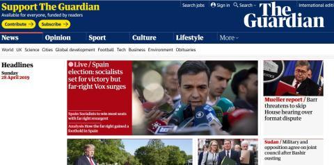 The Guardian lleva a su portada la victoria del PSOE
