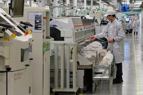 Línea de producción de un dispositivo Huawei