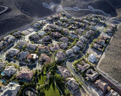 "This image, an aerial view of a gated community in Henderson, Nevada, brought the question of sustainability to Little's mind. This image ""talks about the environmental effects of privilege. It takes a lot of water to make that"