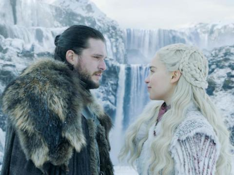 Jon and Daenerys had a semi-romantic moment by a cave and waterfall.