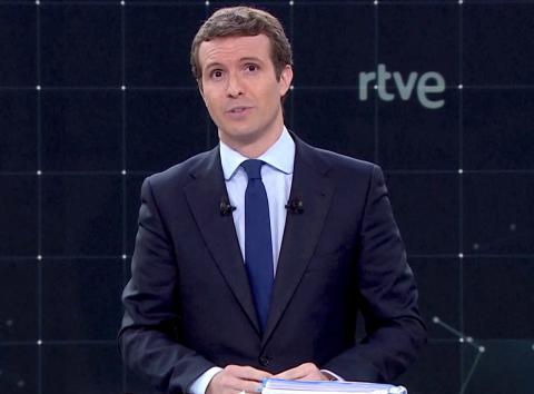 Pablo Casado en el debate de RTVE