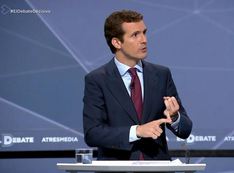 Pablo Casado (PP) habla en el debate electoral de Atresmedia.