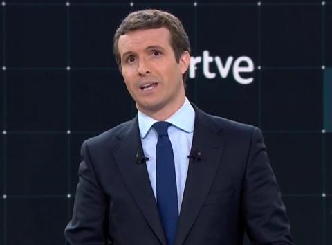 Pablo Casado en el minuto inicial del debate a las Elecciones Generales de 2019 de RTVE