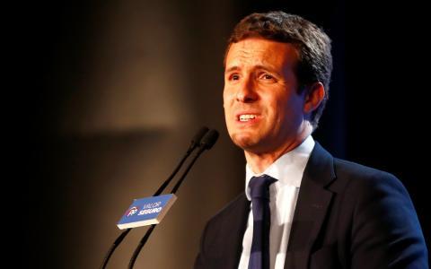 Pablo Casado en un mitin de la campaña de las elecciones generales de 2019.