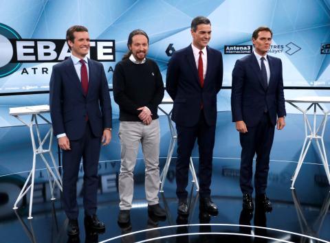 Pablo Casado, Pablo Iglesias, Pedro Sánchez y Albert Rivera