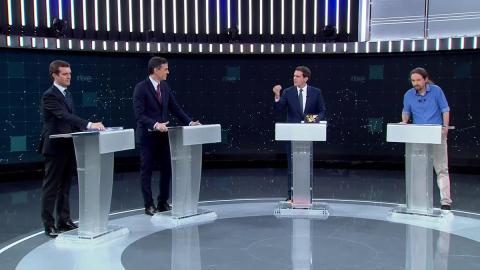 Pablo Casado, Pedro Sánchez, Albert Rivera y Pablo Iglesias.