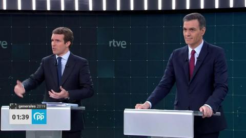 Pablo Casado (PP) y Pedro Sánchez (PSOE), candidatos a la presidencia del Gobierno.