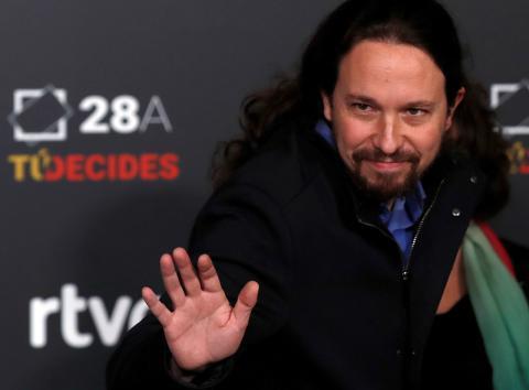 Pablo Iglesias, líder de Unidas Podemos, a su llegada a RTVE para el debate de las Elecciones Generales 2019.