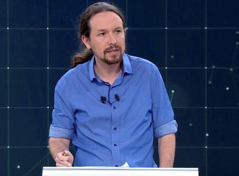 Pablo Iglesias en el debate de las Elecciones Generales 2019 de RTVE.