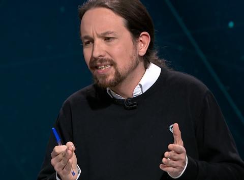 Pablo Iglesias, en el debate electoral de Atresmedia.
