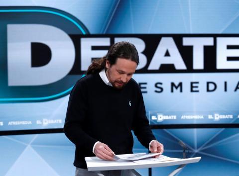 Pablo Iglesias en el debate electoral de Atresmedia.