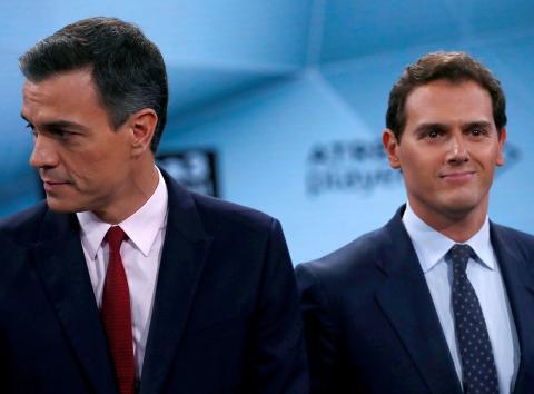Pedro Sánchez y Albert Rivera, en el debate electoral de Atresmedia.
