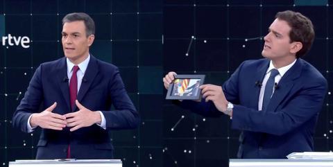 Pedro Sánchez y Albert Rivera, durante el debate de RTVE con motivo de las Elecciones Generales 2019.