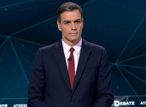 Pedro Sánchez durante el debate electoral de Atresmedia