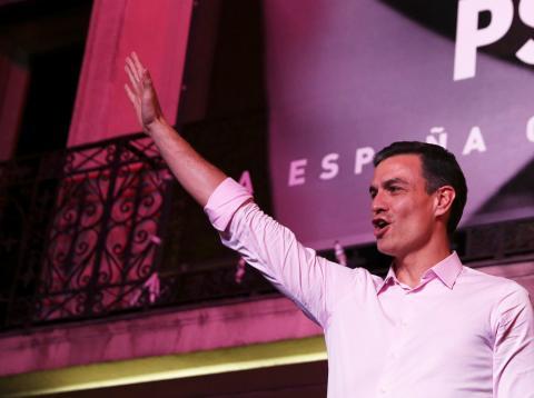 Pedro Sánchez, líder del PSOE, en la noche electoral del domingo 28 de abril de 2019.