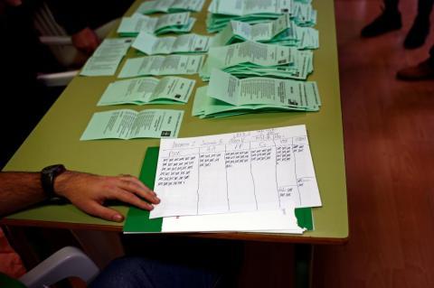 Resultado del recuento de votos en una mesa electoral