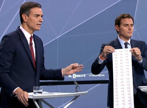 Rivera muestra a Sánchez una hoja con los casos de corrupción del PSOE.