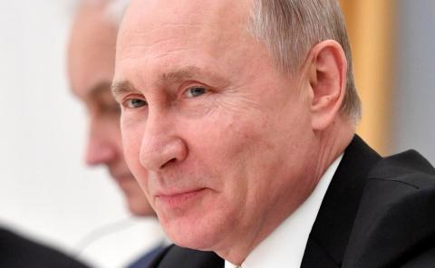 Russian President Putin attends a meeting with businessmen in Moscow