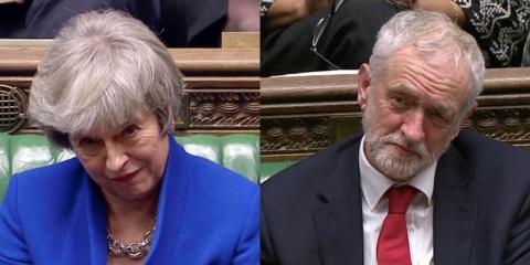La primera ministra britanica, Theresa May, y el líder de la oposición laborista Jeremy Corbyn