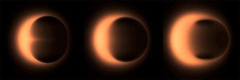 Diferentes simulaciones que muestran cómo se podría ver un agujero negro supermasivo.